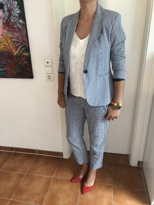 Blau weiß karierter casual Anzug