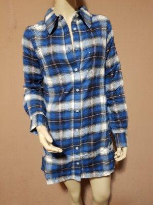 blau weiß kariertes Blusenhemd mit Steinchen NEU Gr. XS