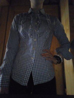blau-weiß kariertes Damen-Trachtenhemd