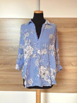 Blau weiß Streifen Blumen Bluse von Zara, Gr. L (NEUw.)
