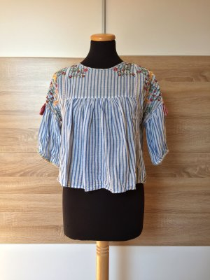 Blau weiß Streifen Bluse, Blumen Stickerei Shirt von Zara, Gr. S