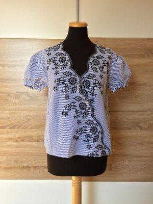 Blau weiß Streifen Bluse, Blumen Stickerei Shirt von Zara, Gr. S (NEUw.)