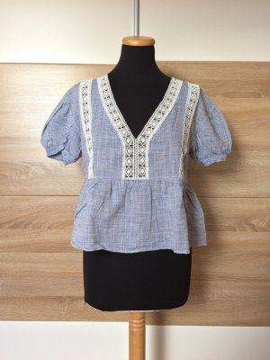 Blau weiß Streifen, Stickerei Bluse von Zara, Gr. M (NEUw.)