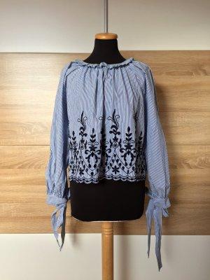 Blau weiß Streifen Stickerei Bluse von Zara, Gr. XS (NEUw.)