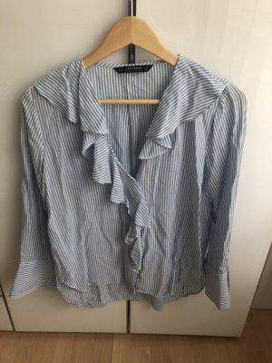 Blau/Weiße Bluse mit Rüschen