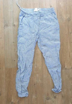 H&M Pantalon en lin blanc-bleu fluo lin
