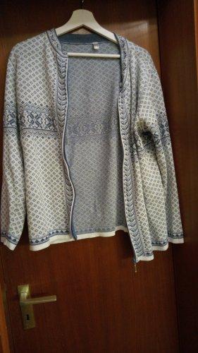 Smanicato lavorato a maglia bianco-blu fiordaliso