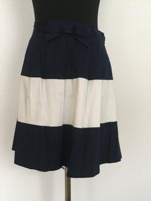 Camaieu Spódnica mini ciemnoniebieski-biały Bawełna