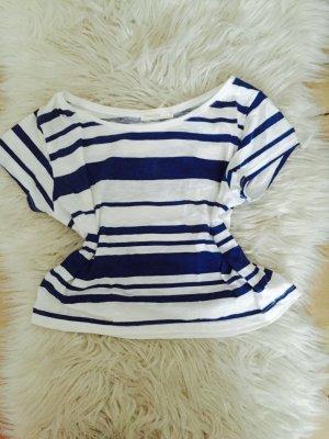 Blau/Weißes Crop Top in der Größe M