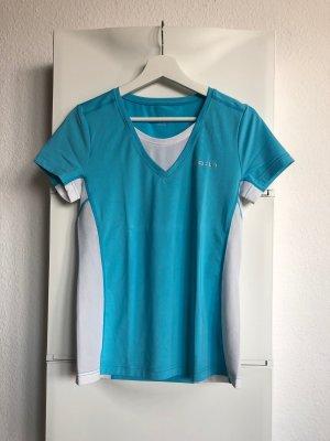 Blau-weißes Sport T-Shirt von Odlo in Größe M
