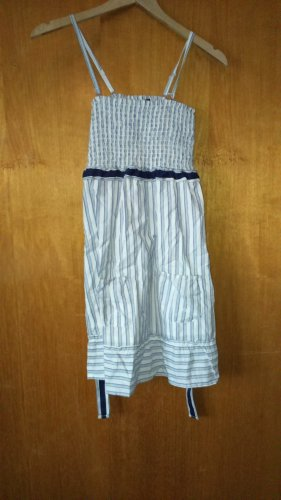 FlashLights Pinafore dress white-dark blue cotton