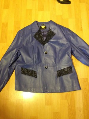 blaue 80er Jahre Lederjacke- Disko-Style