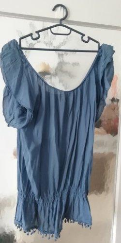 Blusa tipo Carmen azul aciano Fibra sintética