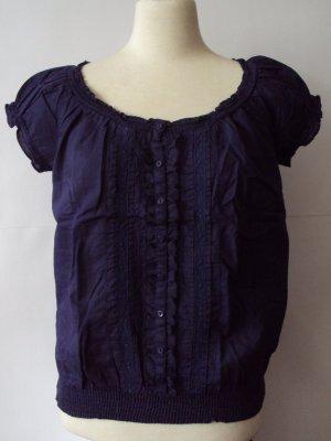 Clockhouse Ruffled Blouse dark blue cotton
