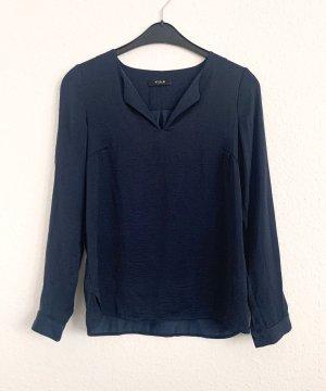 Blaue Bluse in Seidenoptik