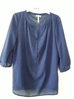 Blaue Bluse mit 3/4 Ärmel