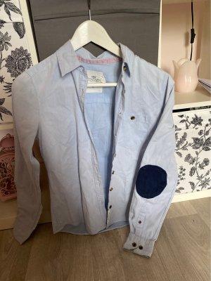 Blaue Bluse mit Cordpatches
