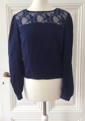 Blaue Bluse mit golden Knöpfen und Details aus Spitze NEU