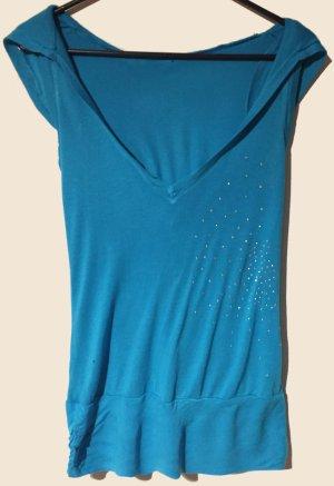 blaue Bluse mit Kapuze und Strass, Gr. S