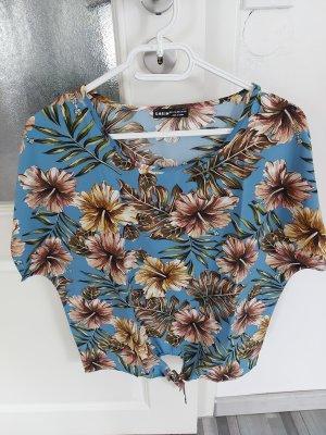 Blaue Bluse Top mit Blumenmuster gr.L XL