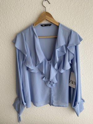 Blaue Bluse Volant Rüschen Zara