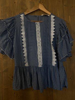Blaue Bluse Zara, mit Rüsche und Verziehrzng