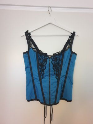 Shirley Of Hollywood Corsage topje zwart-neon blauw Polyester