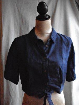 Blaue cropped Jeansbluse, Größe 40/42