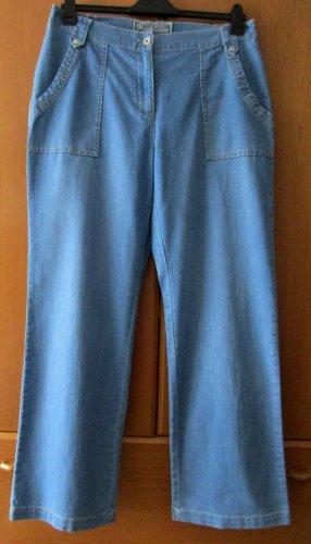 Blaue Damen Jeans Jeanshose Hose blau weiteres Bein 80 % Baumwolle
