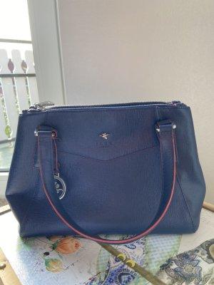 Blaue Echtleder-Handtasche
