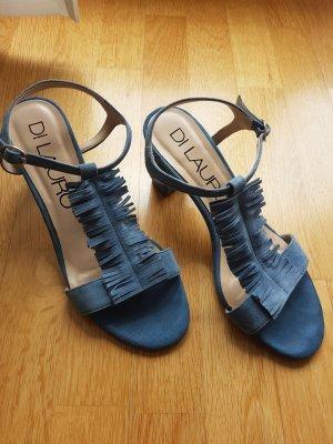 Blaue Fransen Riemchen-Sandaletten