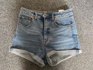 H&M Pantaloncino a vita alta blu-blu scuro