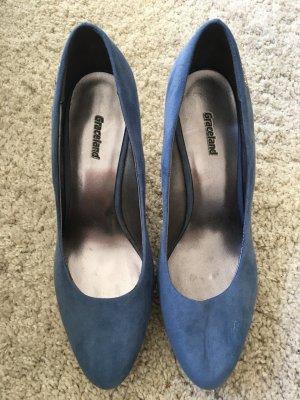 Blaue Heels mit Korkoptik