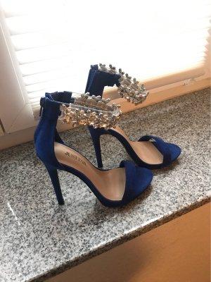 Blaue High Heels mit glitzer