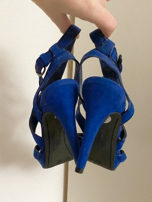 Blaue High Heels Samt