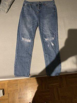 Blaue High waist jeans mit rissen