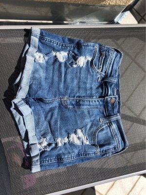 blaue high-waist Shorts von Hollister