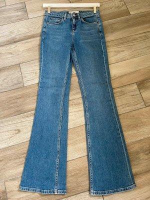 Topshop Jeans flare bleu azur-bleu acier coton