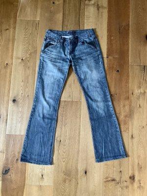 Jeansowe spodnie dzwony niebieski-czarny Bawełna