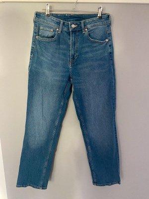 Blaue Jeans von H&M Straight High Waist Ankle Lenght, Gr. 36