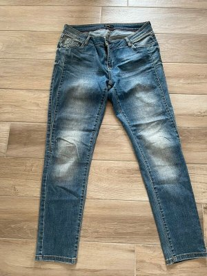 NKD Jeans a gamba dritta blu acciaio-blu fiordaliso Cotone