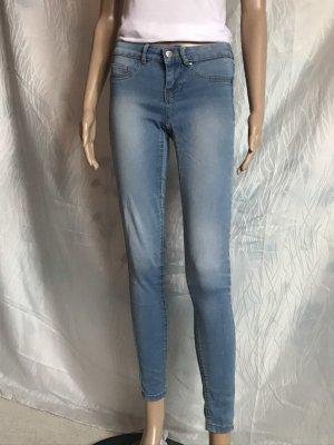 Camaieu Jeans carotte bleu pâle-blanc coton