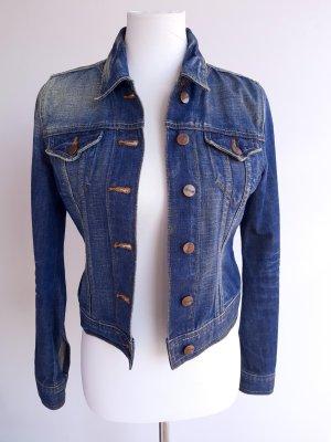 Blaue Jeansjacke mit Kupfer Knöpfen Gr. 34 Washed Effect von H&M