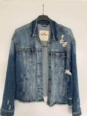Blaue Jeansjacke von Hollister im Used Look