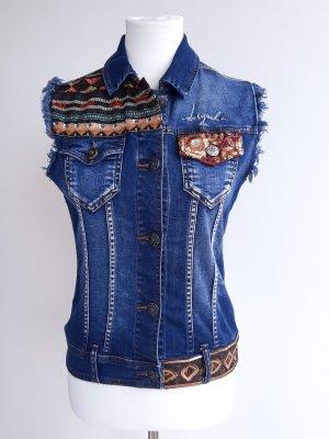 Desigual Gilet en jean multicolore coton
