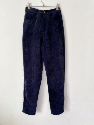 SheIn Pantalon en velours côtelé bleu foncé-bleu