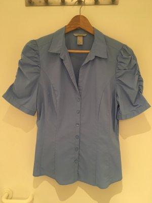 Blaue Kurzarm-Bluse mit gerafften Ärmeln von H&M in Größe 40 (42)
