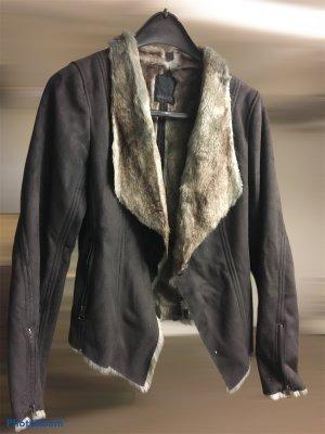 Apanage Futrzana kurtka ciemnoniebieski