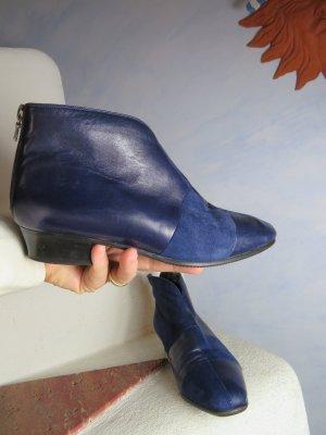 Blaue Lammfell gefütterte Leder/Velourleder Stiefelette - Ankle Boots - Schwarzes Shearling Futter - Gr. 37 - Vintage Zip Booties