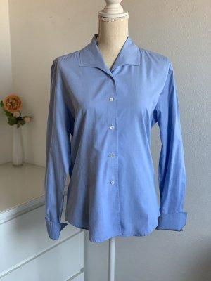 Blaue Langarm Business Hemd-Bluse